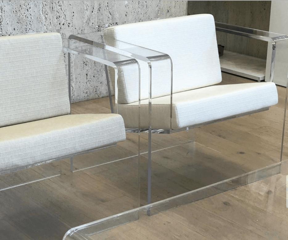 Close up of acryclic furniture