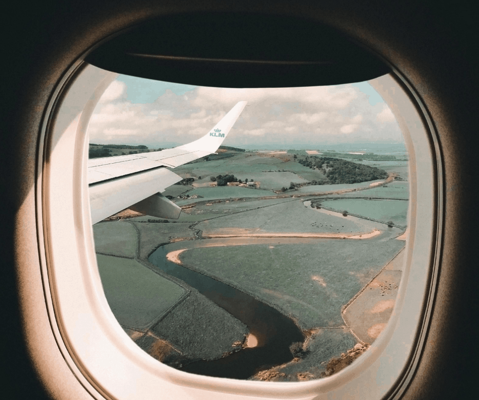 View from the plane onto beautiful landscape
