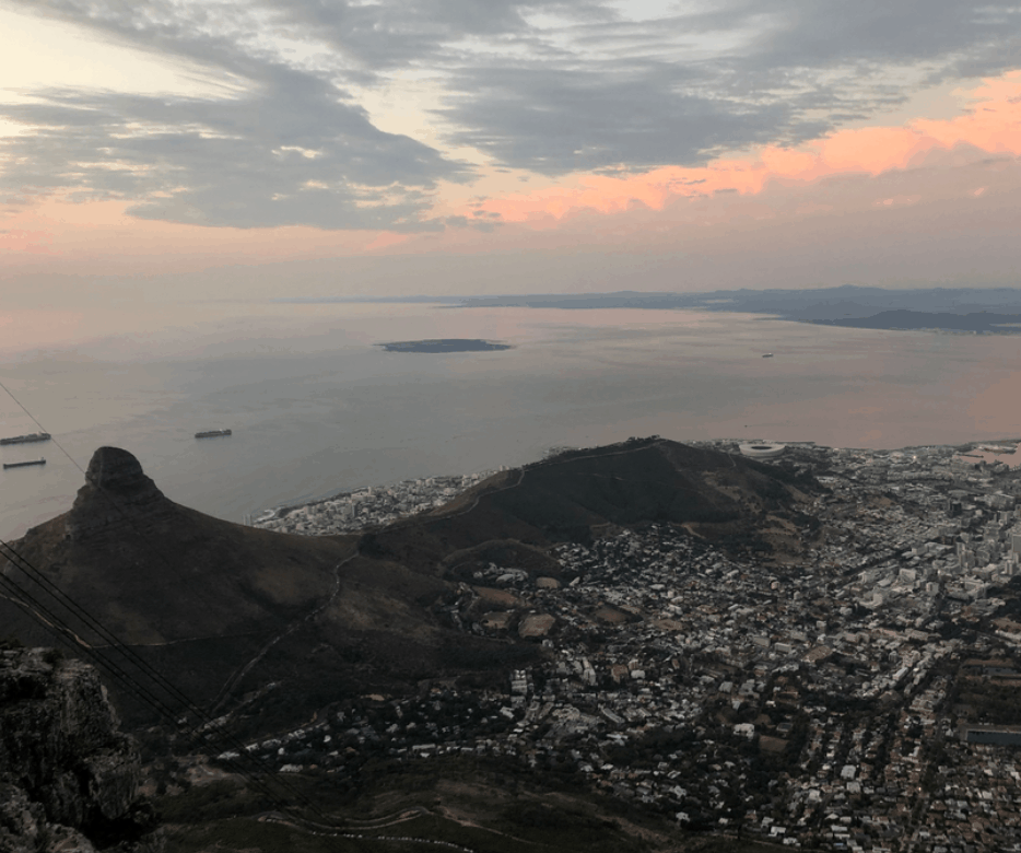View from Table Mountain over Lions Head and CBD in Cape Town, South Africa