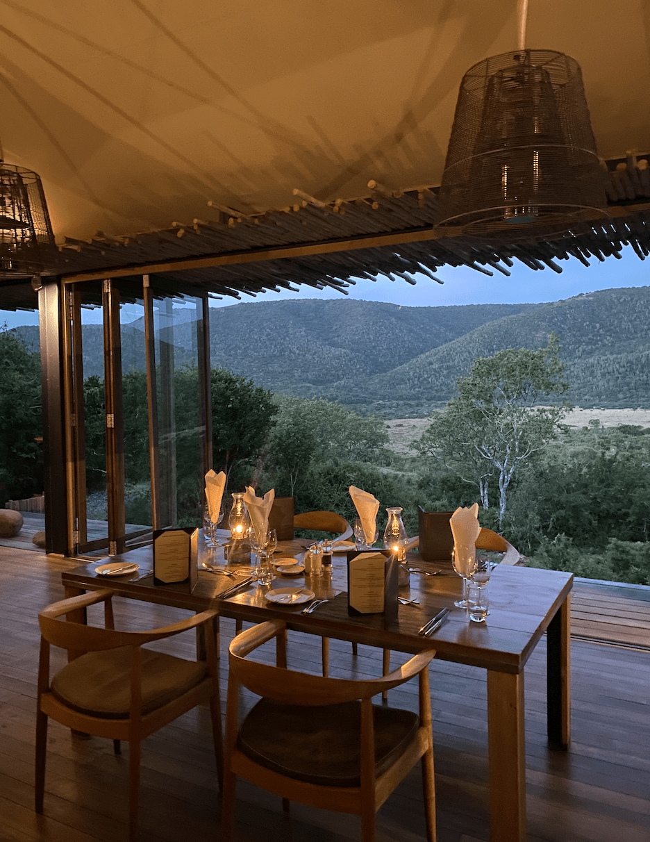 Dinner table with view of game reserve
