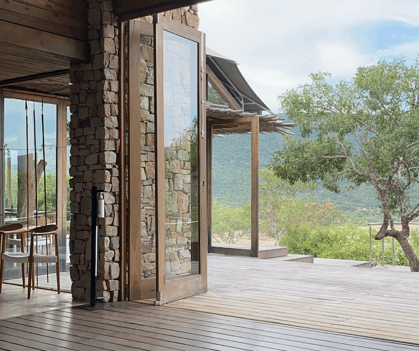 Entrance way with high ceilings and a view onto a game reserve